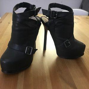 BeBe platform black booties size 7
